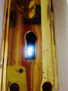 Thru the keyhole...where I kept close eye on dad until he escaped!